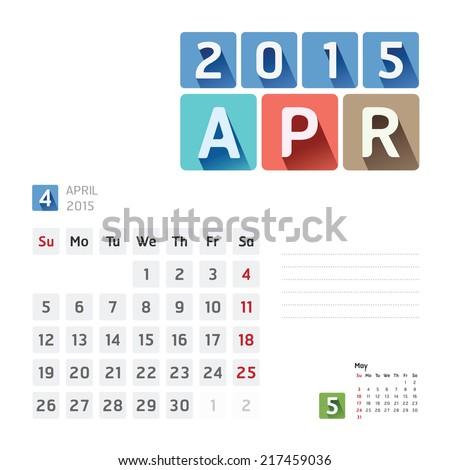 2015 Calendar Calendar Vector  Design. April - stock vector