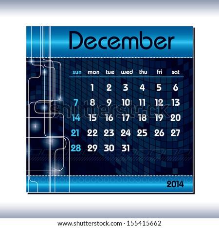 2014 Calendar. December. - stock vector