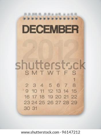 2012 Calendar December Grunge Texture Notebook Vector - stock vector