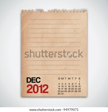 2012 Calendar December Grunge Vintage Paper Vector - stock vector