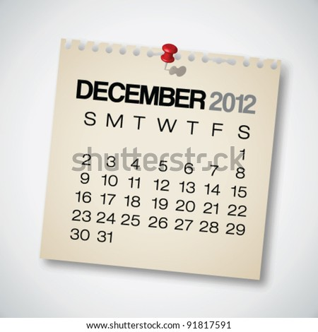 2012 Calendar December Old Torn Paper Vector - stock vector