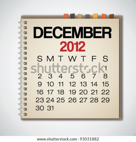 2012 Calendar December On Old Notebook Vector - stock vector