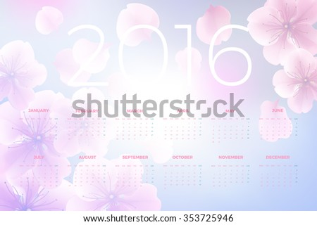 2016 Calendar decorated with flower background. Vector illustration