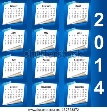 2014 calendar design - week starts with monday - stock vector