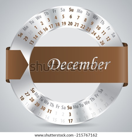 2015 calendar design with metallic ring and ribbon - december month