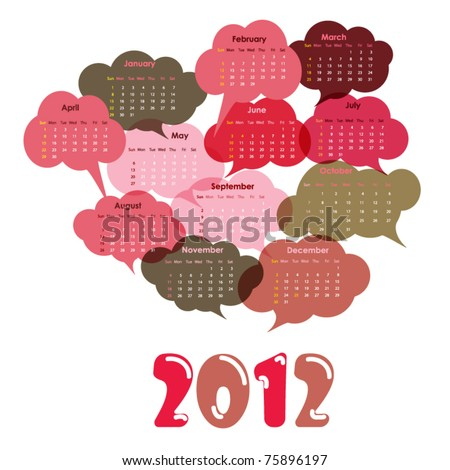 2012 calendar designed with clouds - stock vector