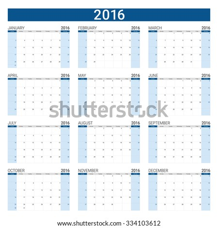 2016 calendar (desk planner) ,12 months, weeks start from Sunday - stock vector