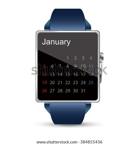 Calendar display of the Smart watch illustration on white background - stock vector