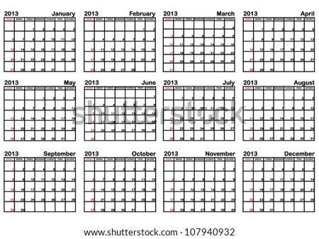 2013 Calendar (EPS 10) - stock vector