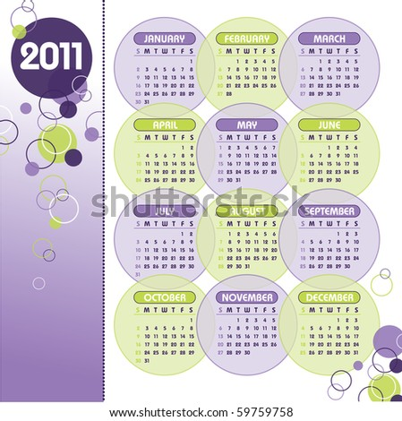 2011 Calendar. eps10. - stock vector
