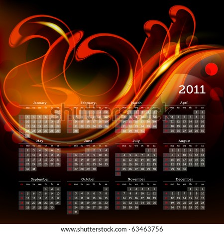 2011 calendar, eps10 - stock vector