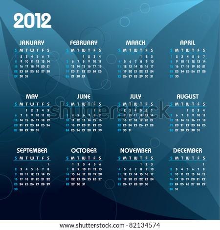 2012 Calendar. Eps10. - stock vector