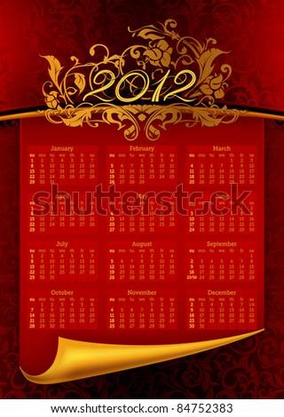 2012 calendar, eps10 - stock vector