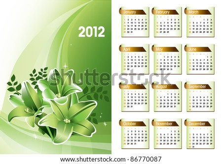 2012 Calendar. Eps10. - stock vector