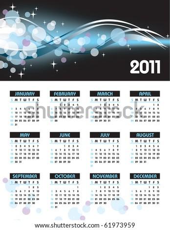 2011 Calendar. eps10. Illustration. - stock vector