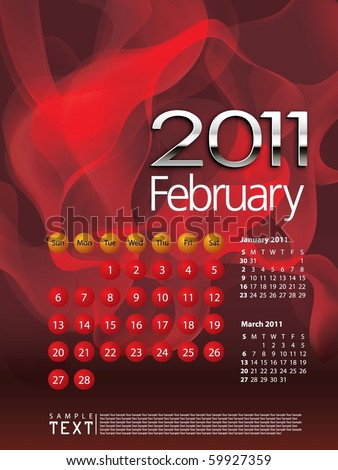 2011 Calendar February - stock vector
