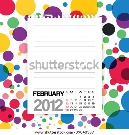 2012 Calendar February Note paper on Colorful Background Vector - stock vector