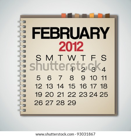 2012 Calendar February On Old Notebook Vector - stock vector