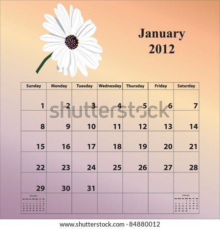 2012 Calendar for the month of January - stock vector
