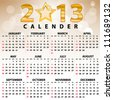 2013 Calendar full year. 12 months. Vector illustration - stock photo