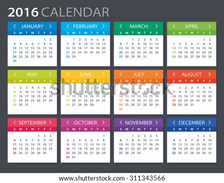 2016 Calendar - illustration  - stock vector