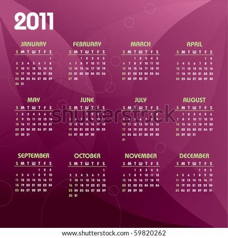 2011 Calendar. Illustration in eps10 format. - stock vector