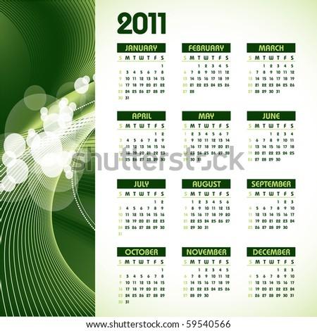 2011 Calendar in eps10 format. - stock vector