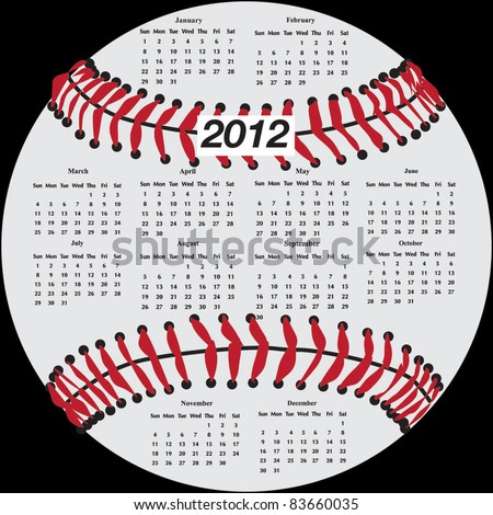 2012 Calendar in shape of baseball - stock vector