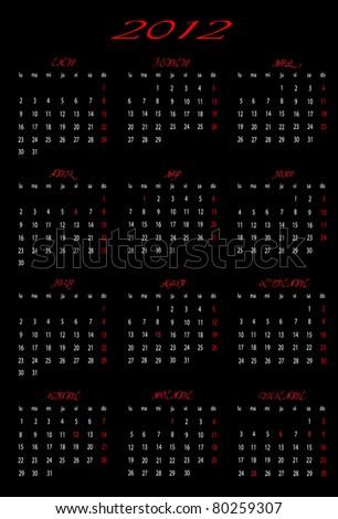 2012 calendar in Spanish - stock vector