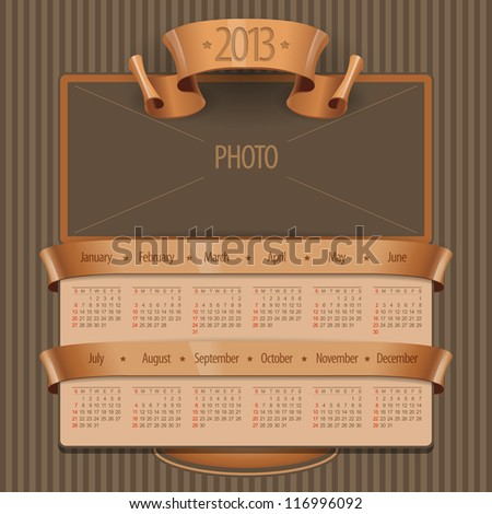 2013 Calendar in the old style and space for a picture or photo. Vector Illustration - stock vector