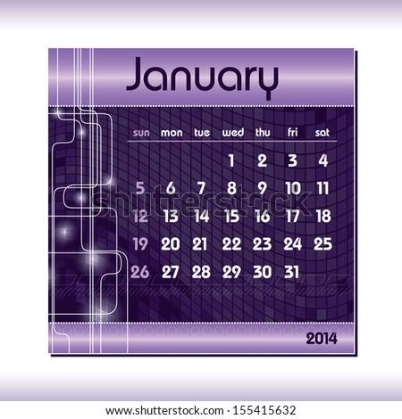 2014 Calendar. January. - stock vector