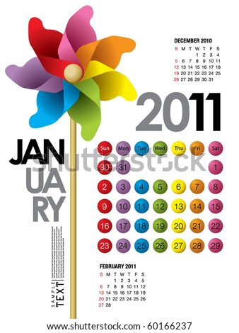 2011 Calendar January - stock vector