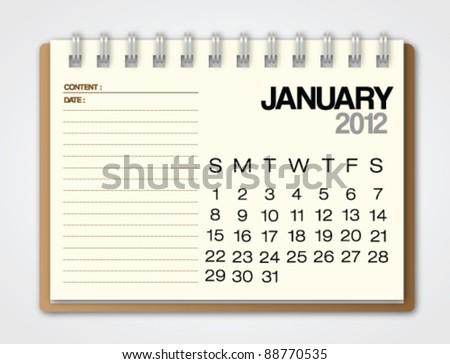2012 Calendar January notebook vector - stock vector