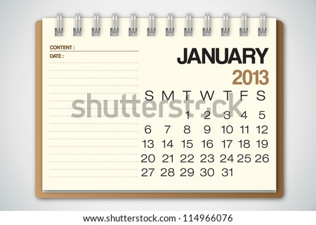 2013 Calendar January Old Torn Paper Vector - stock vector