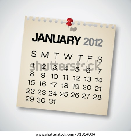 2012 Calendar January Old Torn Paper Vector - stock vector