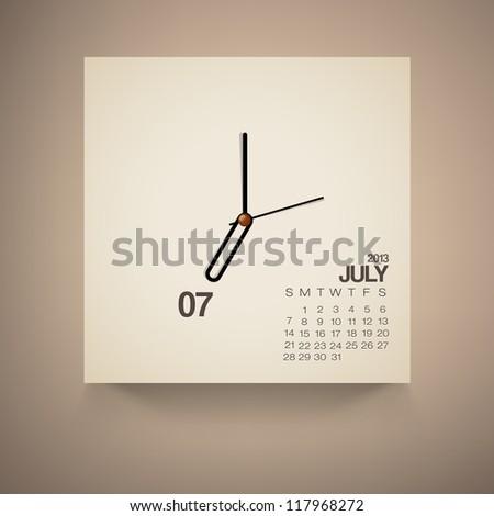 2013 Calendar July Clock Design Vector - stock vector