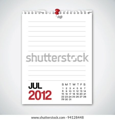 2012 Calendar July Torn Edges Paper Vector - stock vector