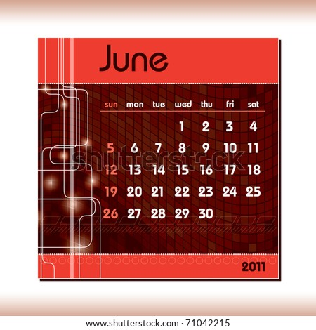 2011 Calendar. June. - stock vector