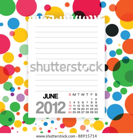 2012 Calendar June Note paper on Colorful Background Vector - stock vector