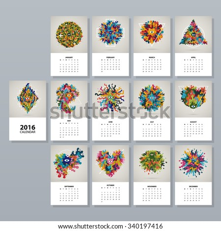 Simple Vertical Calendar Layout Lizenzfreie Bilder und ...