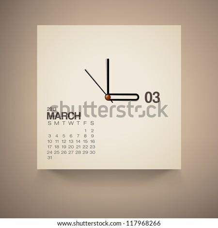 2013 Calendar March Clock Design Vector - stock vector