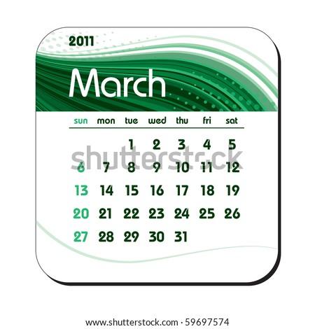 2011 Calendar. March. eps10. - stock vector