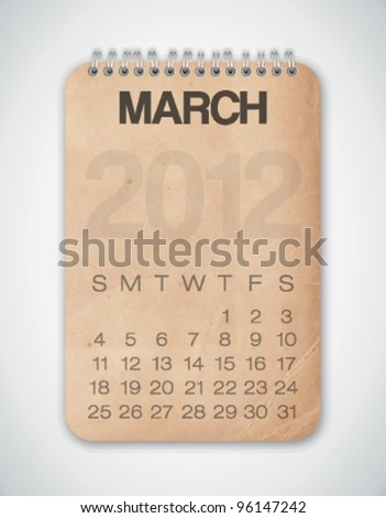 2012 Calendar March Grunge Texture Notebook Vector - stock vector