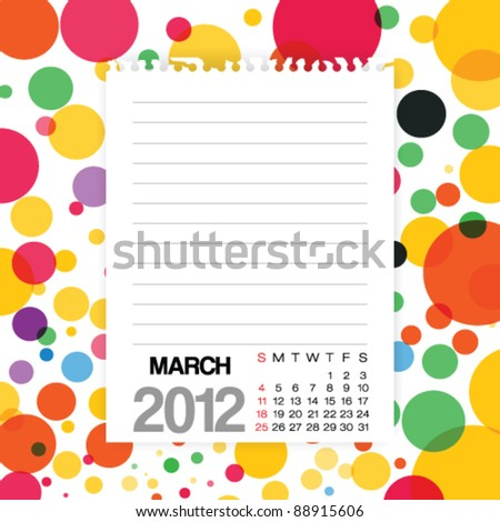 2012 Calendar March Note paper on Colorful Background Vector - stock vector