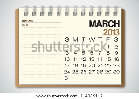 2013 Calendar March Old Torn Paper Vector - stock vector
