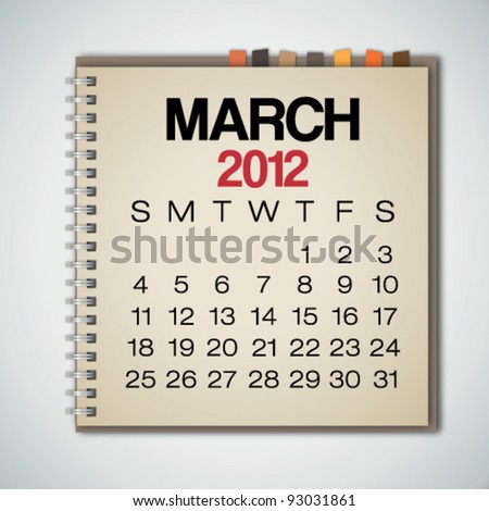 2012 Calendar March On Old Notebook Vector - stock vector