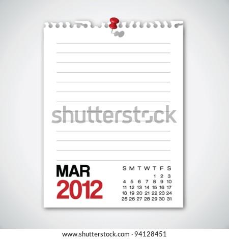2012 Calendar March Torn Edges Paper Vector - stock vector