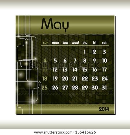 2014 Calendar. May. - stock vector
