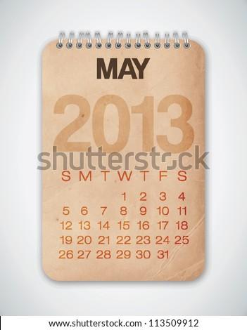 2013 Calendar May Grunge Texture - stock vector
