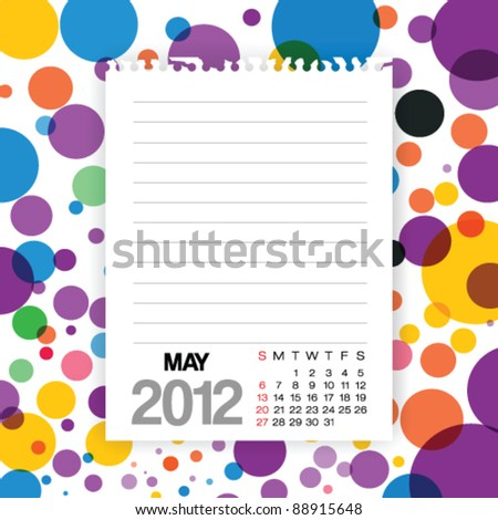 2012 Calendar May Note paper on Colorful Background Vector - stock vector